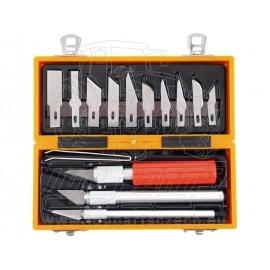 nože na vyřezávání, sada 14ks, v krabičce z ABS pl.