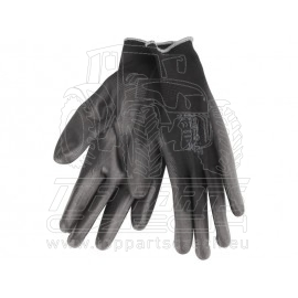 """rukavice z polyesteru polomáčené v PU, černé, velikost 8"""""""