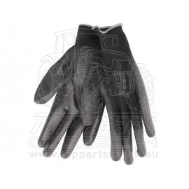"""rukavice z polyesteru polomáčené v PU, černé, velikost 10"""""""