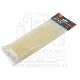 pásky stahovací bílé, 380x4,8mm, 100ks, nylon