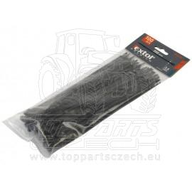 pásky stahovací černé, 380x4,8mm, 100ks, nylon