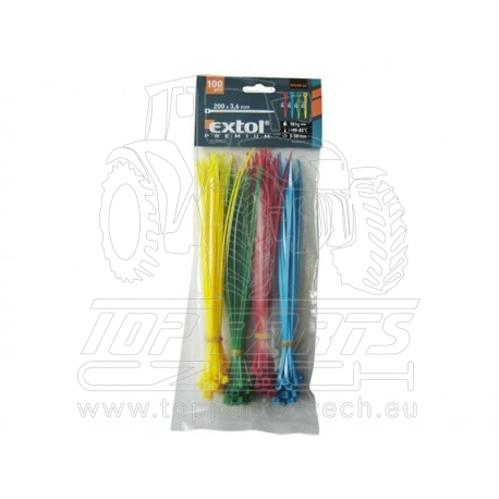 pásky stahovací barevné, 150x2,5mm, 100ks, (4x25ks), 4 barvy, nylon