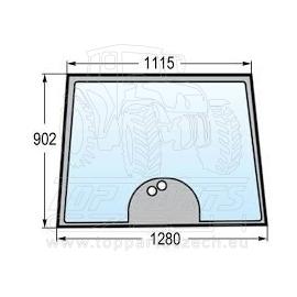4274322M1 Přední sklo  s rovnou podlahou, 2-díry, výška 902 mm