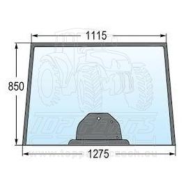 4282184M1 Přední sklo  u podlah s tunelem, 3-díry, výška 850 mm