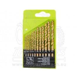 vrtáky do kovu, sada 13ks,∅1,5-6,5mm, HSS TiN