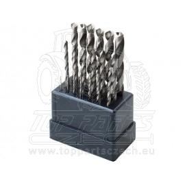 vrtáky do kovu, sada 19ks,∅1-10mm, HSS