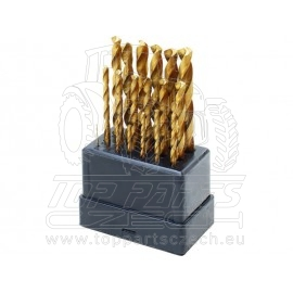 vrtáky do kovu, sada 19ks,∅1-10mm, HSS TiN