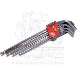 L-klíče imbus prodloužené, sada 9ks, H1,5-10mm
