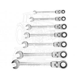 klíče ráčnové očkoploché s kloubem, sada 7ks, 8-19mm